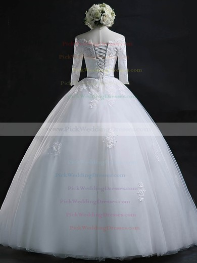Nice Off-the-shoulder Tulle Appliques Lace Floor-length 3/4 Sleeve Ball Gown Wedding Dresses #PWD00022630