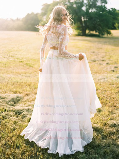 Two Piece A-line Scoop Neck Chiffon Tulle Appliques Lace Sweep Train Long Sleeve Unique Wedding Dresses #PWD00022631