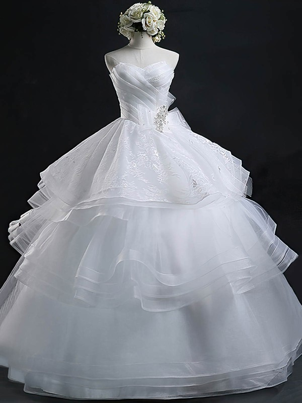 Vintage Sweetheart Organza with Appliques Lace Floor-length Ball Gown Wedding Dresses #PWD00022632