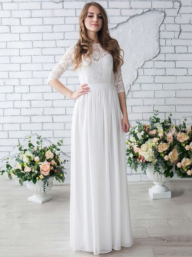 A-line Scoop Neck Chiffon Lace Floor-length Famous 1/2 Sleeve Wedding Dresses #PWD00022633