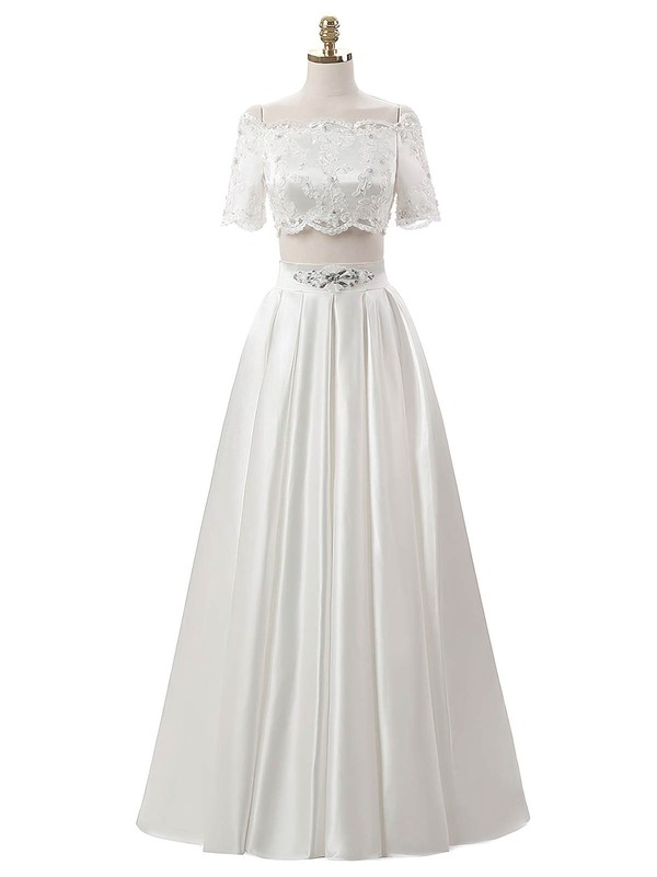 Great Two Piece A-line Satin Beading Floor-length Short Sleeve Off-the-shoulder Wedding Dresses #PWD00022634