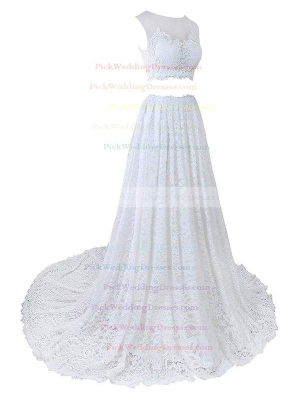 Two Piece A-line Scoop Neck Lace Tulle Appliques Lace Court Train Cheap Wedding Dresses #PWD00022635