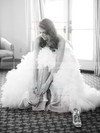 New Style A-line Sweetheart Tulle Cascading Ruffles Sweep Train Wedding Dresses #PWD00022636