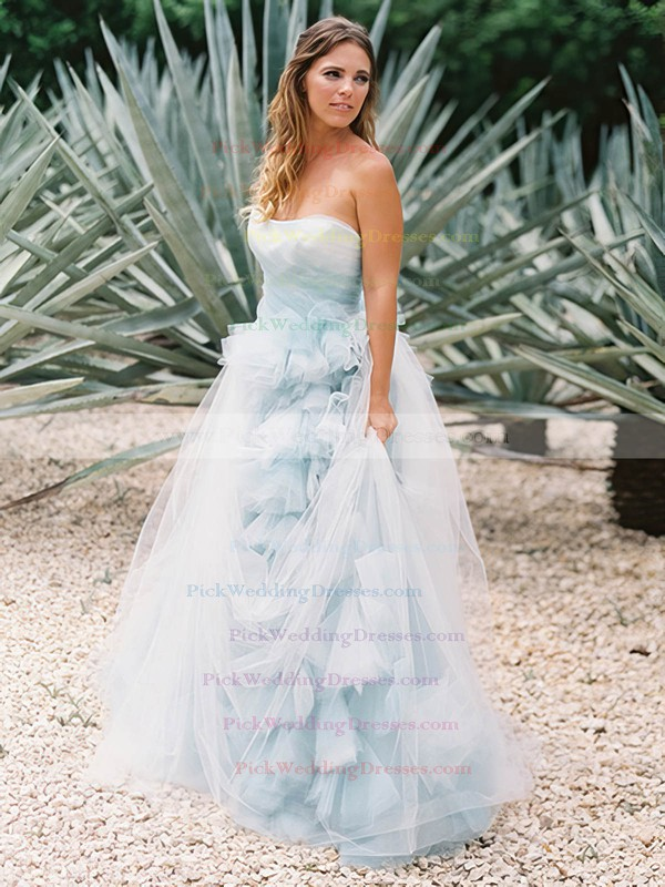 Amazing A-line Tulle with Ruffles Sweep Train Backless Strapless Wedding Dresses #PWD00022637