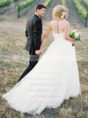 A-line Scoop Neck Tulle with Appliques Lace Classy Detachable Wedding Dresses #PWD00022638