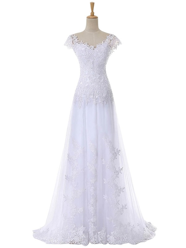 Original A-line V-neck Cap Straps Tulle Appliques Lace Sweep Train Wedding Dresses #PWD00022641
