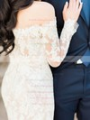 Latest Off-the-shoulder Tulle Appliques Lace Sweep Train Long Sleeve Trumpet/Mermaid Wedding Dresses #PWD00022642