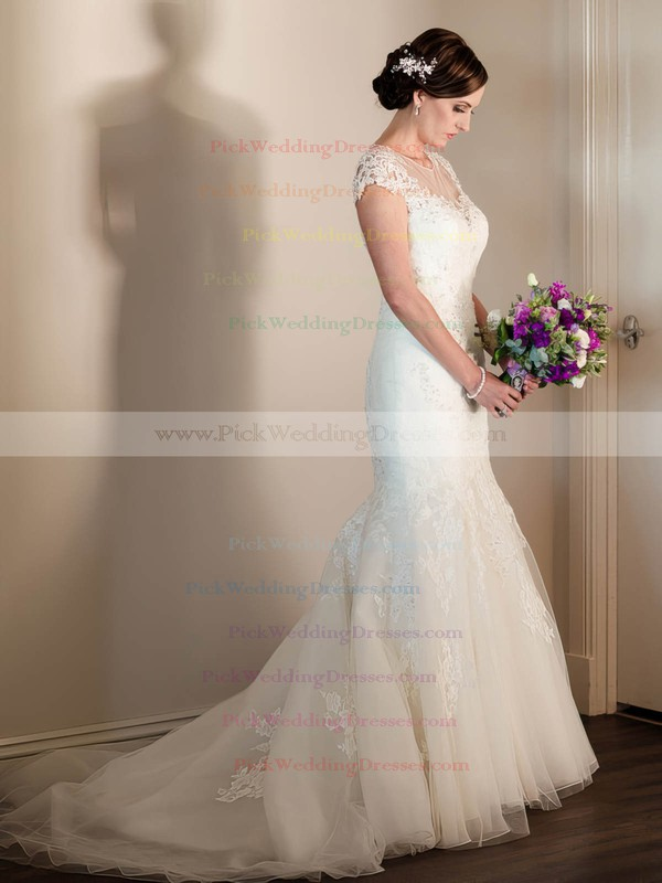 Scoop Neck Cap Straps Tulle Beading Sweep Train Modest Trumpet/Mermaid Wedding Dresses #PWD00022643