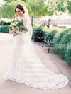 Newest Scoop Neck Tulle Appliques Lace Court Train Long Sleeve Sheath/Column Wedding Dresses #PWD00022644