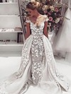 Scoop Neck Sheath/Column Tulle Appliques Lace Detachable Backless Funky Wedding Dresses #PWD00022646