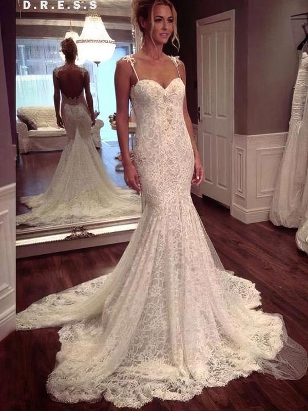Modern Sweetheart Lace Appliques Lace Trumpet/Mermaid Watteau Train Wedding Dresses #PWD00022647
