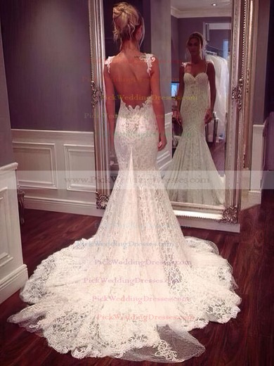 Modern Sweetheart Lace Appliques Lace Trumpet/Mermaid Watteau Train Wedding Dresses #PWD00022647