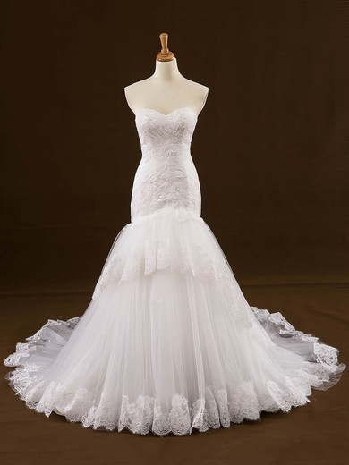 Custom Sweetheart Tulle Appliques Lace Court Train Trumpet/Mermaid Wedding Dresses #PWD00022648