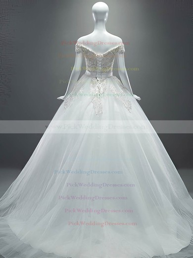 Off-the-shoulder Tulle Appliques Lace Court Train Ball Gown Sparkly Wedding Dresses #PWD00022649