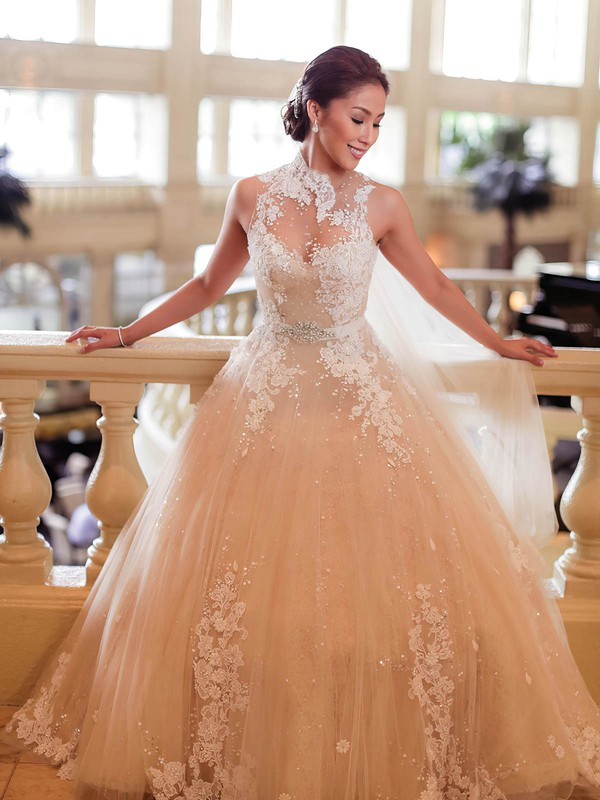 Stunning Ball Gown Tulle Appliques Lace Sweep Train High Neck Wedding Dresses #PWD00022650
