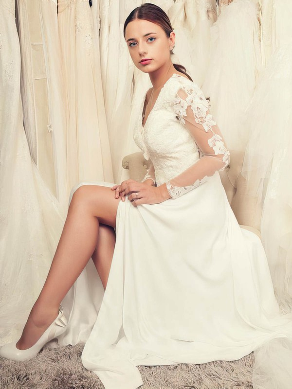 Fashion Backless A-line V-neck Tulle Chiffon Appliques Lace Floor-length Long Sleeve Wedding Dresses #PWD00022652