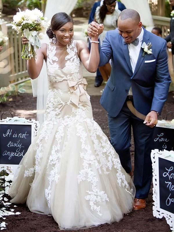 Scoop Neck Tulle Appliques Lace Court Train Graceful Trumpet/Mermaid Wedding Dresses #PWD00022653