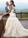 Scoop Neck Tulle Appliques Lace Court Train Graceful Trumpet/Mermaid Wedding Dresses #PWD00022653