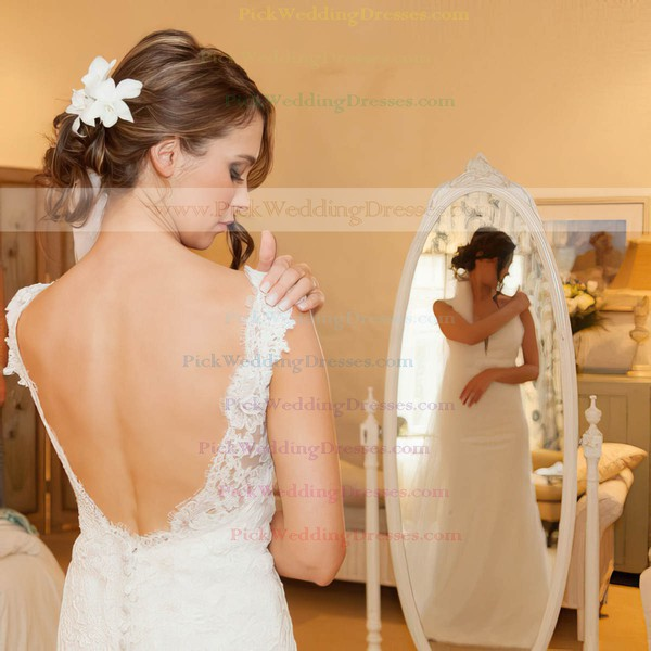Beautiful V-neck Sheath/Column Tulle Appliques Lace Sweep Train Backless Wedding Dresses #PWD00022654