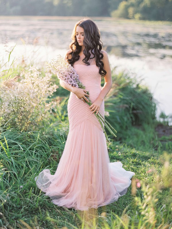 Amazing Trumpet/Mermaid Tulle with Ruffles Sweep Train One Shoulder Wedding Dresses #PWD00022655