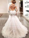 Scoop Neck Tulle Appliques Lace Court Train Long Sleeve Sexy Trumpet/Mermaid Wedding Dresses #PWD00022656
