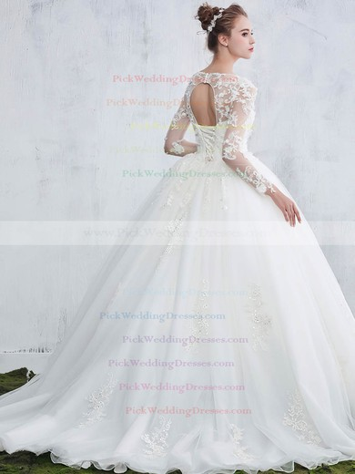 Beautiful Scoop Neck Tulle Appliques Lace Sweep Train Ball Gown Long Sleeve Wedding Dresses #PWD00022657