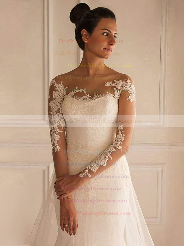 Scoop Neck Tulle Appliques Lace Court Train Long Sleeve Backless Elegant Trumpet/Mermaid Wedding Dresses #PWD00022658