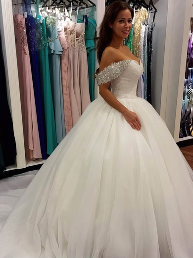 Glamorous Ball Gown Tulle with Beading Cathedral Train Off-the-shoulder Wedding Dresses #PWD00022659