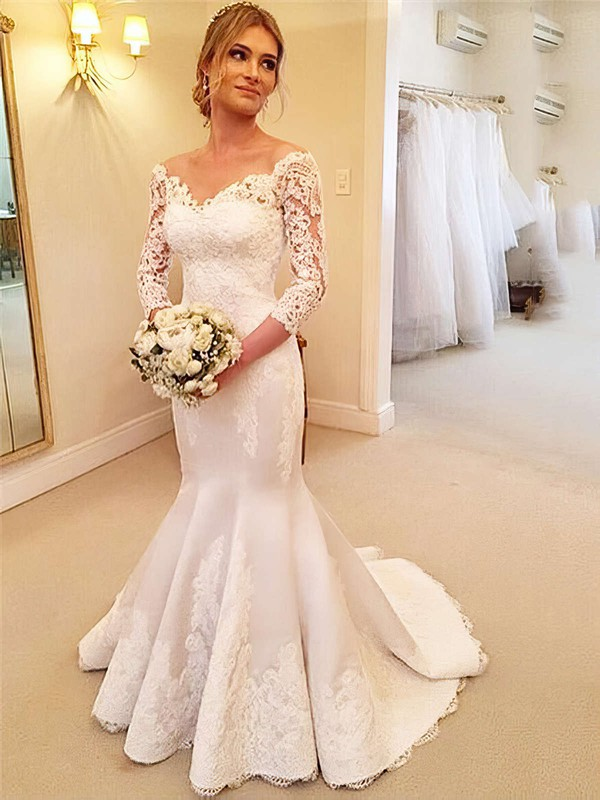Trumpet/Mermaid Satin Tulle Appliques Lace Sweep Train 3/4 Sleeve Modest Off-the-shoulder Wedding Dresses #PWD00022661
