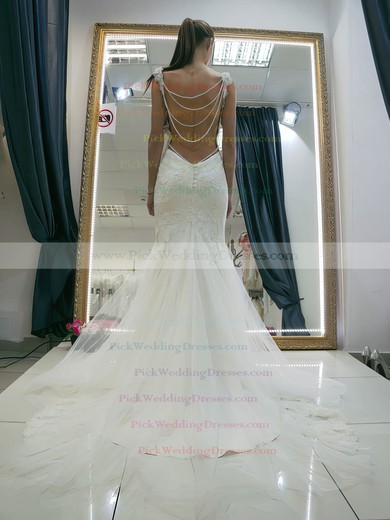 Boutique Sweetheart Tulle Appliques Lace Sweep Train Backless Trumpet/Mermaid Wedding Dresses #PWD00022662