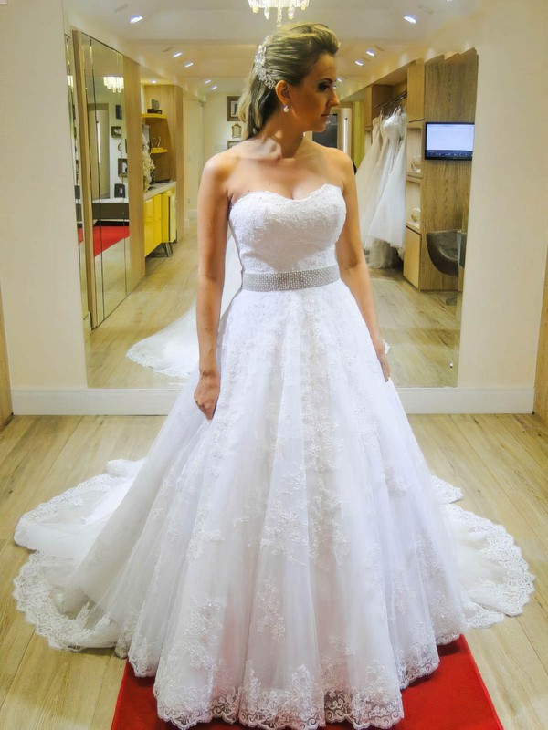 A-line Sweetheart Tulle with Appliques Lace Chapel Train Beautiful Wedding Dresses #PWD00022663