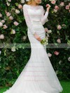 Top Scalloped Neck Lace Appliques Lace Sweep Train Long Sleeve Trumpet/Mermaid Wedding Dresses #PWD00022664