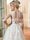 Perfect A-line Scoop Neck Cap Straps Tulle Appliques Lace Sweep Train Wedding Dresses #PWD00022665