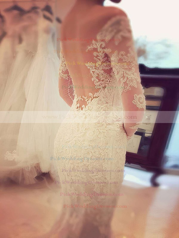 Trumpet/Mermaid Tulle Appliques Lace Court Train Long Sleeve Famous Off-the-shoulder Wedding Dresses #PWD00022666