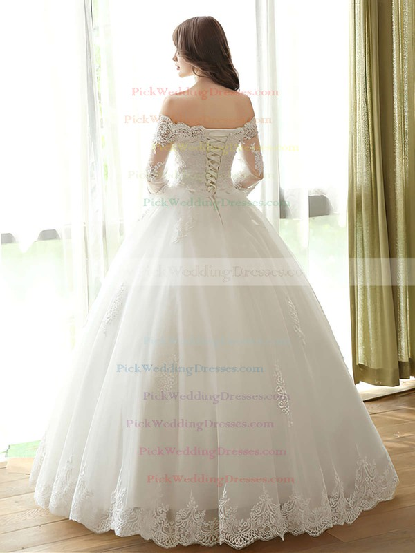 Ball Gown Off-the-shoulder Tulle Appliques Lace Floor-length Amazing 3/4 Sleeve Wedding Dresses #PWD00022667