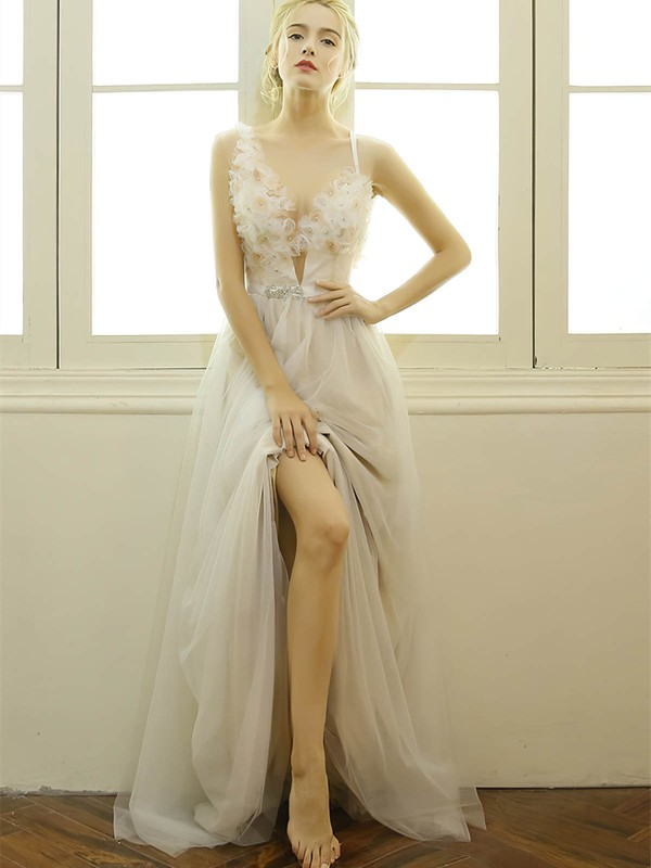 A-line V-neck Tulle with Beading Floor-length Modern Backless Wedding Dresses #PWD00022668