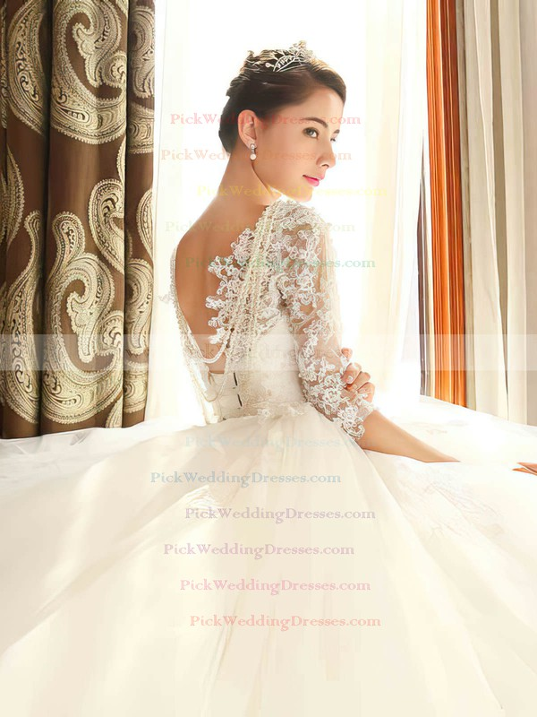 Backless Ball Gown Scoop Neck Tulle Appliques Lace Chapel Train 1/2 Sleeve Popular Wedding Dresses #PWD00022670