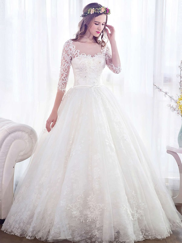 Ball Gown Scoop Neck Lace Tulle Appliques Lace Floor-length Trendy 3/4 Sleeve Wedding Dresses #PWD00022671