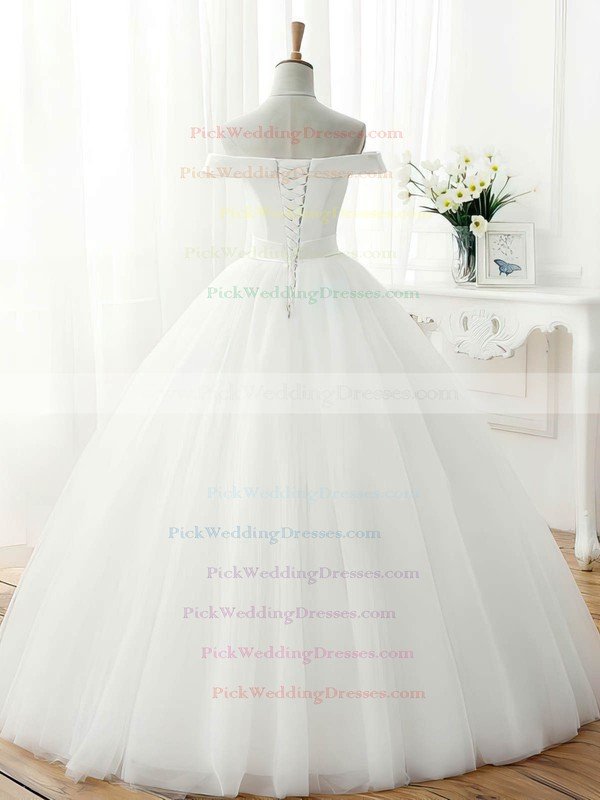 Original Ball Gown Tulle Sashes / Ribbons Floor-length Off-the-shoulder Wedding Dresses #PWD00022672