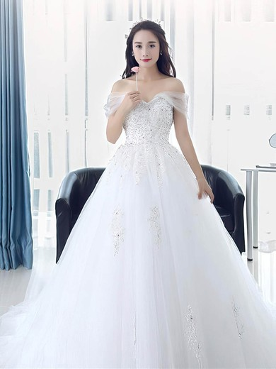 Princess Off-the-shoulder Tulle Beading Sweep Train Classy Backless Wedding Dresses #PWD00022673