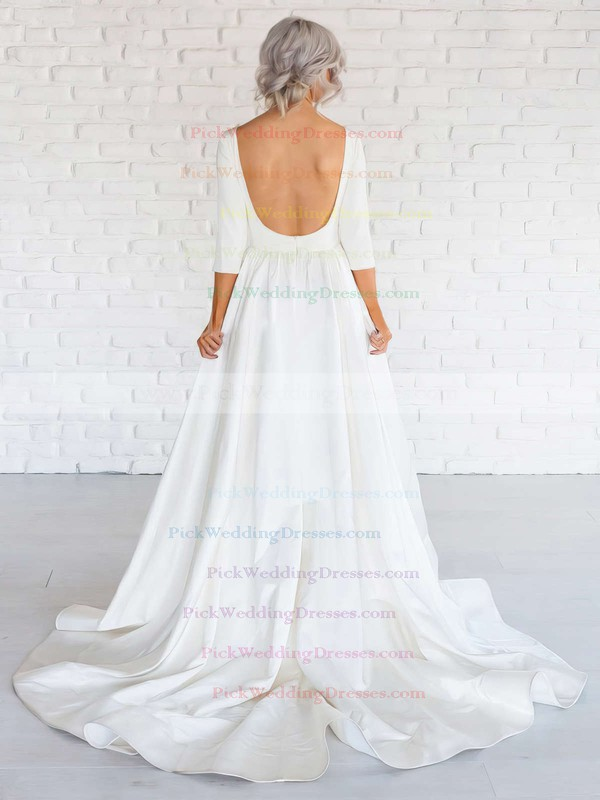 Backless A-line Scoop Neck Satin Ruffles Sweep Train Long Sleeve Simple Wedding Dresses #PWD00022674