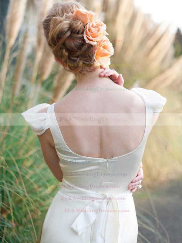 New Scoop Neck Sheath/Column Chiffon Silk-like Satin Sashes / Ribbons Ankle-length Wedding Dresses #PWD00022675