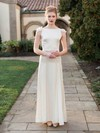 New Scoop Neck Sheath/Column Chiffon Silk-like Satin Sashes / Ribbons Ankle-length Wedding Dresses #PWD00022675