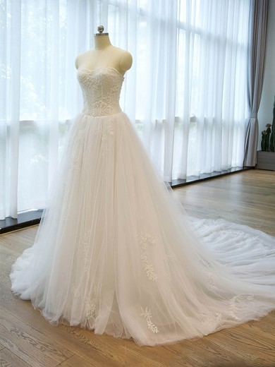 Affordable A-line Sweetheart Tulle with Beading Chapel Train Wedding Dresses #PWD00022676