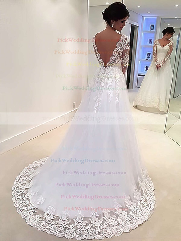 Backless A-line V-neck Tulle Appliques Lace Sweep Train Long Sleeve Classic Wedding Dresses #PWD00022677