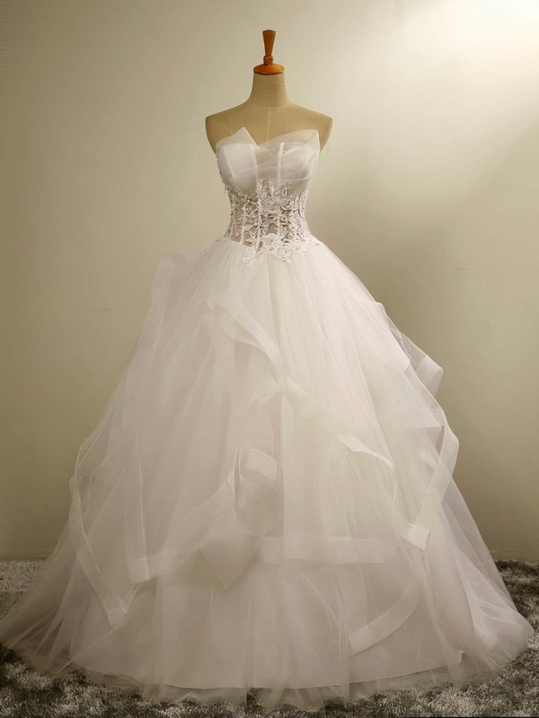 Custom Sweetheart Tulle with Appliques Lace Floor-length Ball Gown Wedding Dresses #PWD00022678