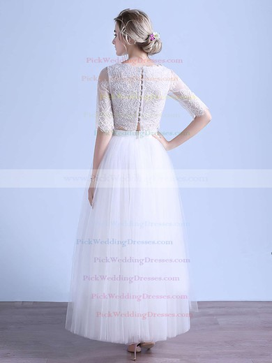 Two Piece A-line Scoop Neck Tulle Appliques Lace Ankle-length 1/2 Sleeve Exclusive Wedding Dresses #PWD00022679