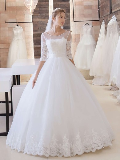 Ball Gown Scoop Neck Tulle Appliques Lace Floor-length Online 1/2 Sleeve Wedding Dresses #PWD00022680
