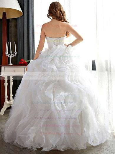 Different Sweetheart Organza Cascading Ruffles Floor-length Ball Gown Wedding Dresses #PWD00022681