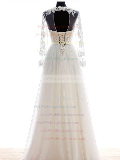 A-line Scalloped Neck Chiffon Tulle Appliques Lace Floor-length Cheap Long Sleeve Wedding Dresses #PWD00022682